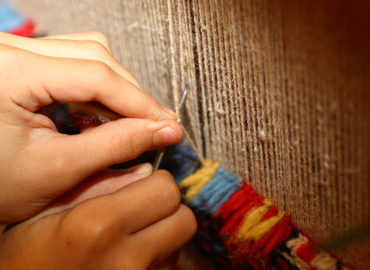 Weaving process for Hand Knotted Carpet